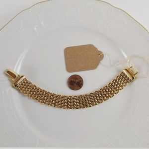 "Vintage Gold Plated 1/2"" Wide Thick Mesh Bracelet"